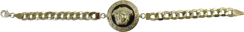 MegaJoyas Pulsera de Oro de Ley 18 Klts. Cadena Cubana Barbada con Motivo Central de Medusa y Greca Redonda.