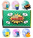 #10: Kids Bath Bombs 6-Pack Jumbo 6 oz. Bath Bomb with Surprise Toy I Gender Neutral | USA-Made, Assorted Won't Stain Your Tub | Scented Aromatic Fizzy | Great Fizzies for Delicate Skin | Top Gifting Idea