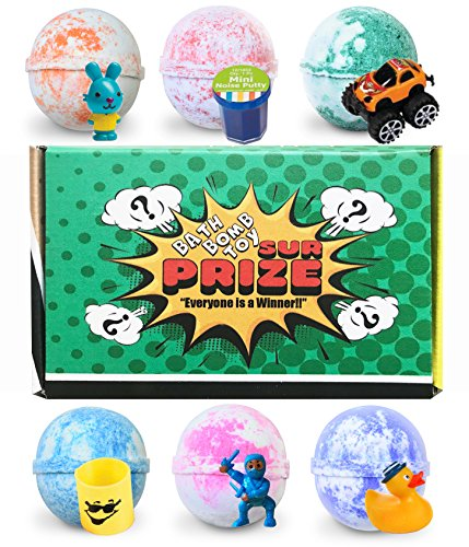 Bath Bombs for Kids, 6 Kids Bath Bombs with Surprise Inside, Toy Bath Bombs, Kids Surprise Toys, Made in USA, Great Fizzies for Sensitive Skin -