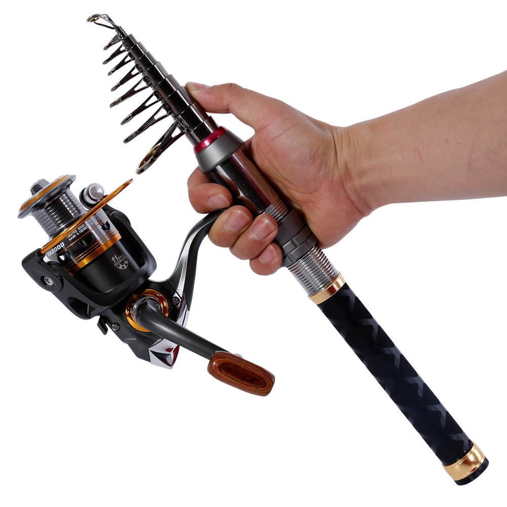 Sougayilang Fishing Rod Reel Combos Pocket Portable Fishing Pole