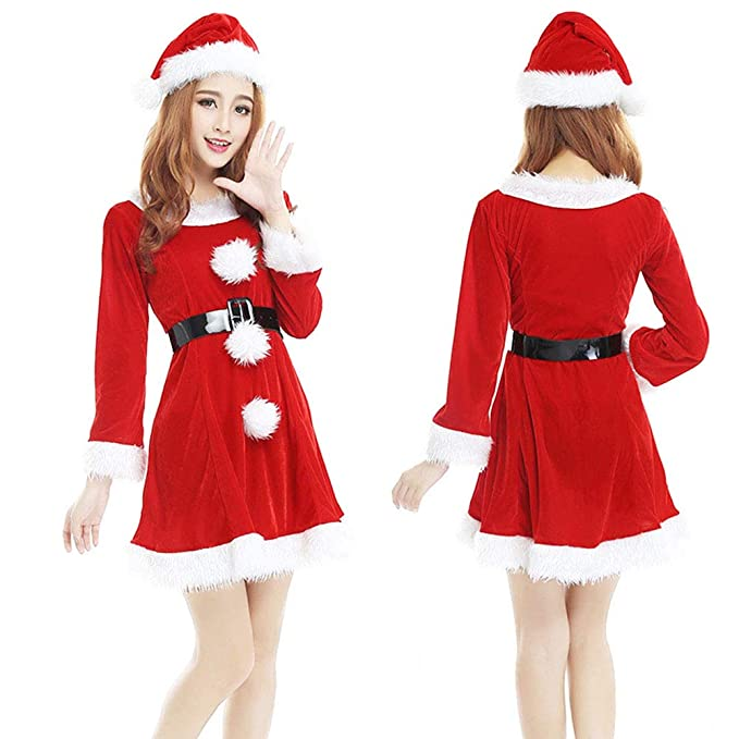 b36959d20a29 Amazon.com: IronBuddy Santa Dress Costume Red Christmas Dress Suit for  Women Teen Girls for Christmas Party and Cosplay: Clothing