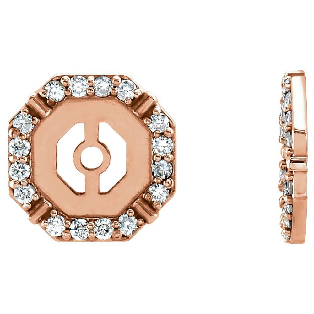 STU001- 14K Rose 1/6 CTW Diamond Earring Jackets by STU001-