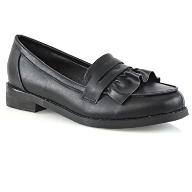 43f43fc0f23 ESSEX GLAM Womens Flat Slip On Black Synthetic Leather Loafers Ruffle Work  Mocassin Shoes 5 B