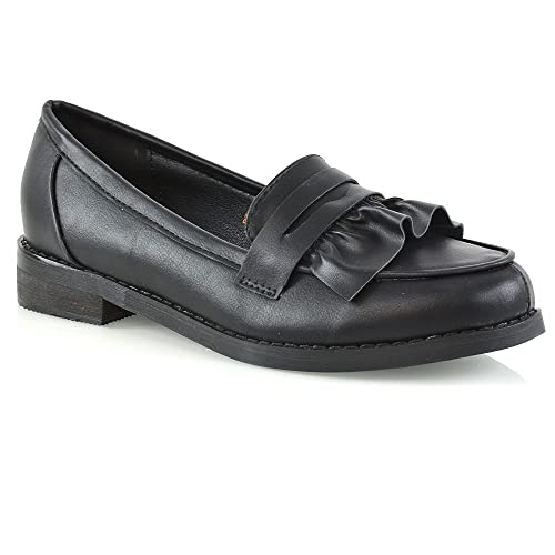 4d8117ca597 Womens Flat Loafers Slip On Ruffle Work Office Ladies Moccasins School  Shoes 3-8
