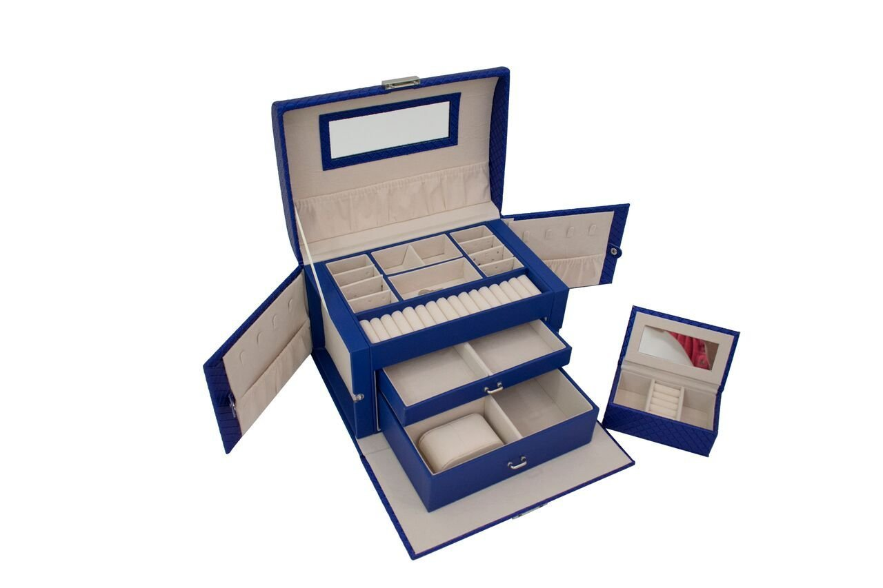 Blu Monaco Royal Blue Leather Mirrored Jewelry Box with Lock Drawers - Portable Jewelry Organizer Lockable - Watch,  Earrings, Ring Security Box  - Travel Jewelry Case