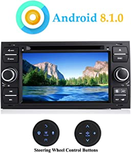 "XISEDO 7"" Android 8.1.0 Car Stereo 4-Core in-Dash Car Radio GPS Navigation with DVD Player for Focus, C-Max, S-Max,Kuga, Fusion, Galaxy (with Steering Wheel Control Buttons)"