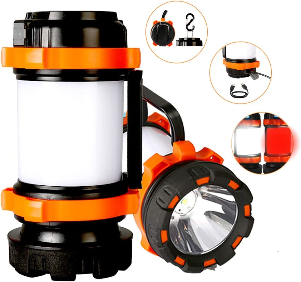 Camping Lantern, Rechargeable LED Camping Lights, Water-Resistant Lamp Flashlight Survival Kit, 3000mAh Emergency USB Power Bank Charger for Outdoor, Hiking, Emergency, Hurricane 1 Pack