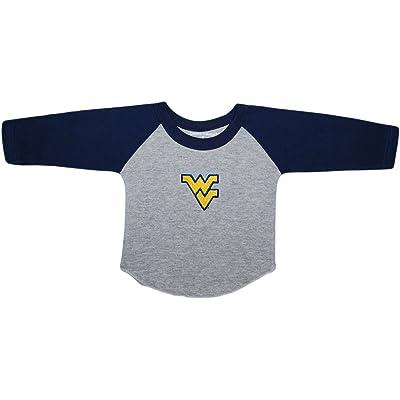West Virginia University Mountaineers Newborn Baby Toddler 2-Tone Raglan Baseball Shirt