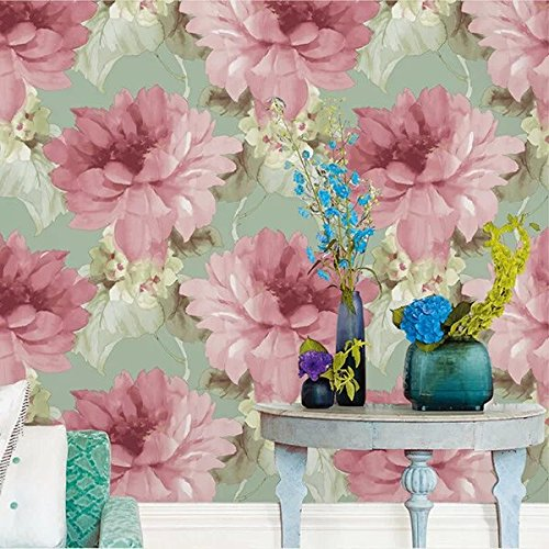 HaokHome 6D045 Vintage Flower Vinyl Textured Wallpaper Roll Green/Pink Floral Home Room Decoration 20.8
