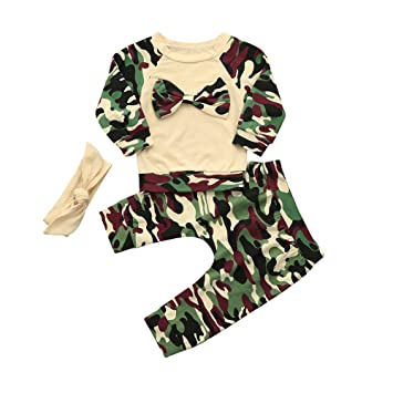 949b4b591 Newborn Toddler Baby Girls Boys Camouflage Bow Tops Pants Outfits ...
