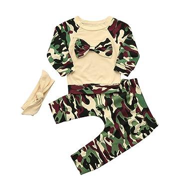 97f62065778f Amazon.com  Fartido Baby Newborn Toddler Girls Camouflage Bow Tops + ...