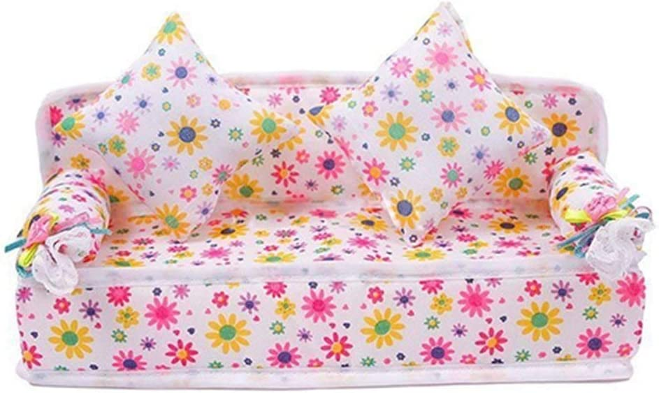 Emivery Lovely Mini Furniture Flower Print Sofa Couch with 2 Cushions for Barbie Doll House Accessories