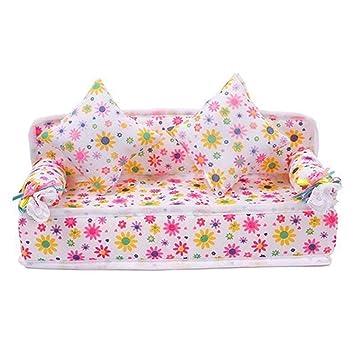 Amazon.com: Emivery - Sofá con 2 cojines para muñecas de ...