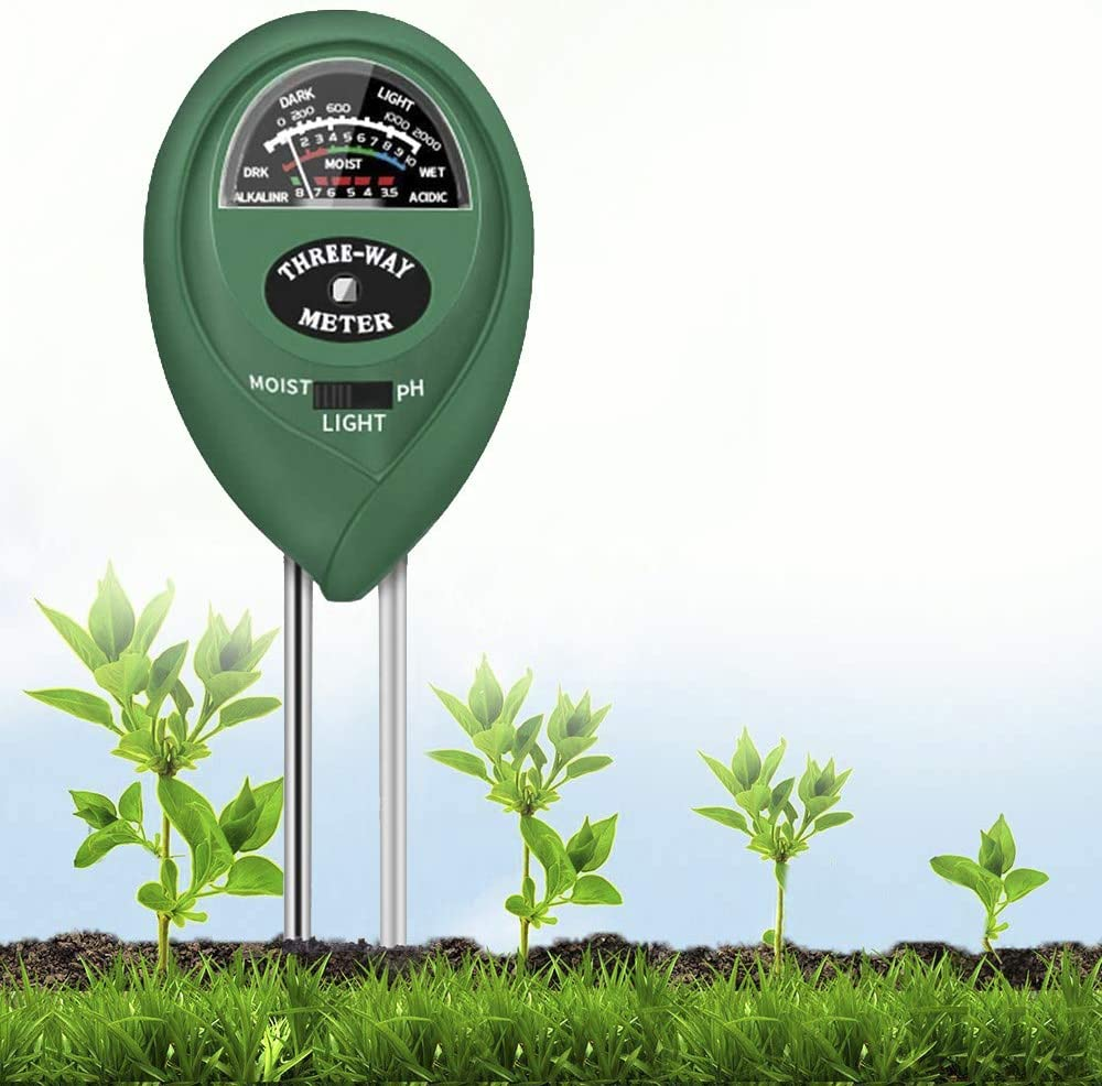 Soil PH Meter, 3-in-1 Plant Soil Moisture/PH/Sunlight Tester Gardening Tool Testing Kits for Garden Plant Care, Soil Water Meter for Garden, Lawn, Farm,Indoor&Outdoor Plants,No Batteries Required