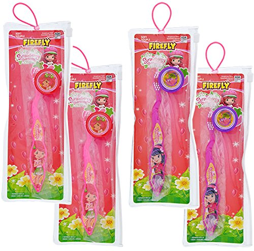 Total 4 sets Toothbrush with Cap and Pouch Travel Kit: Strawberry Shortcake Cherry Jam