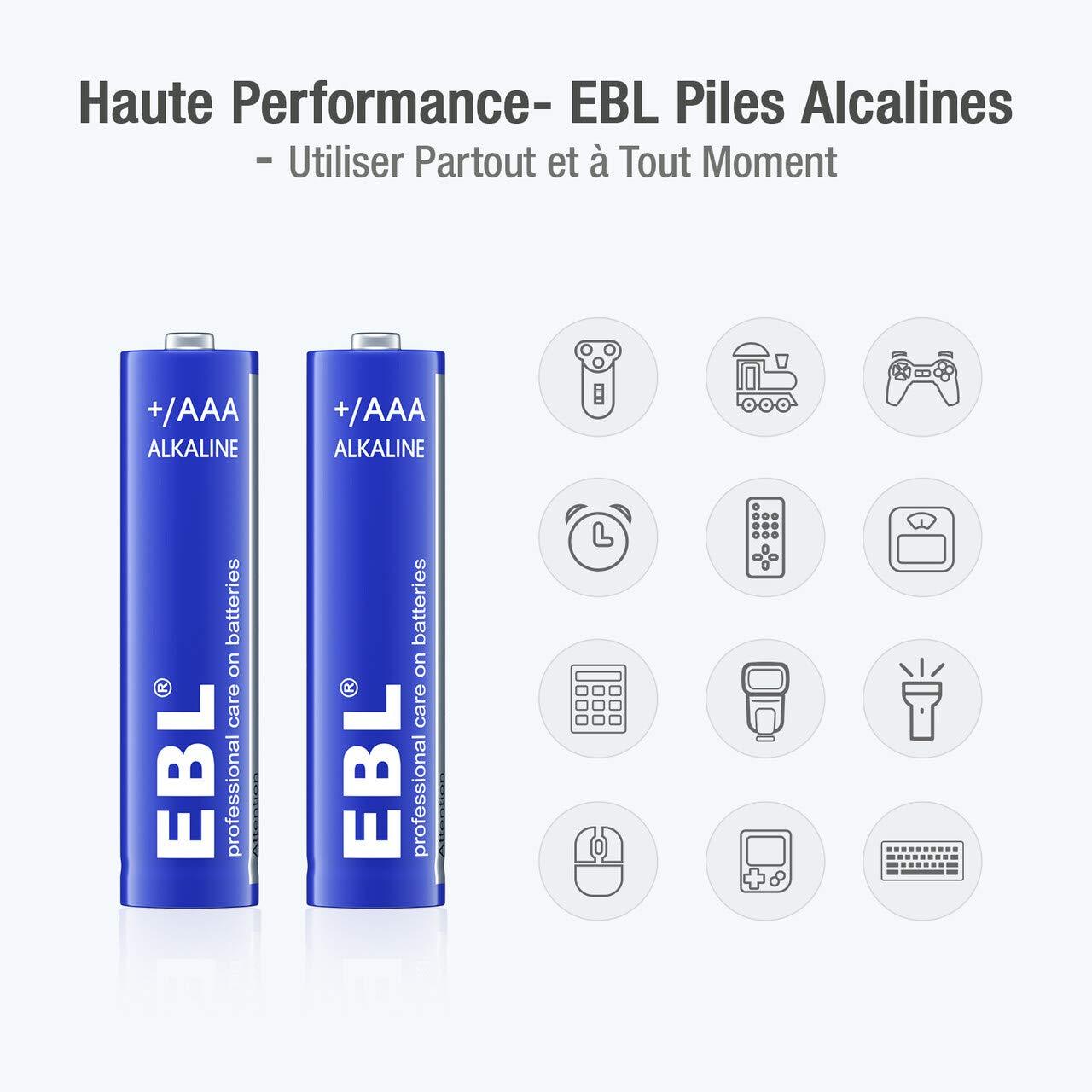 EBL Lot de 28 Piles AAA Alcalines 1,5V - Piles LR03 1,5 Volts avec Longue Durée de Conversation