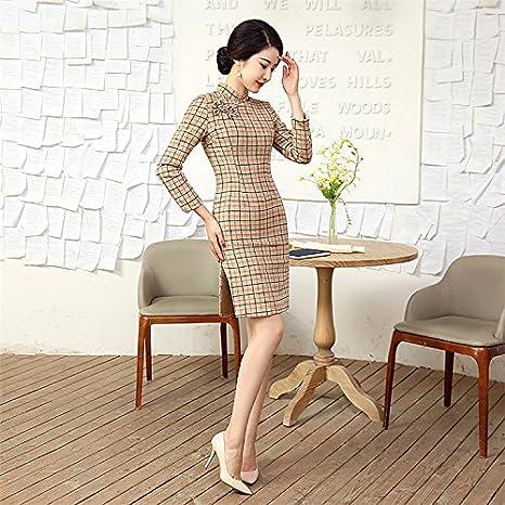 YueLian Damen Erwachsene Herbst Langärmelig Qipao Kleid mit Kariert Muster:  Amazon.de: Bekleidung