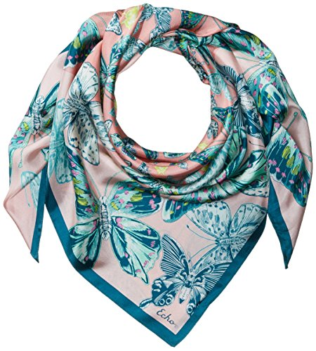 Echo Silk Scarf - Echo Women's Butterfly Silk Square Scarf, Rose Pink, One Size