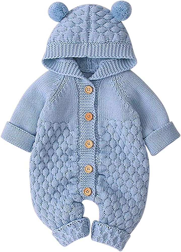 OBEEII Baby Girl Boy Sweater Romper Knitted Overall Hooded Jumpsuit Cute Warm Clothes