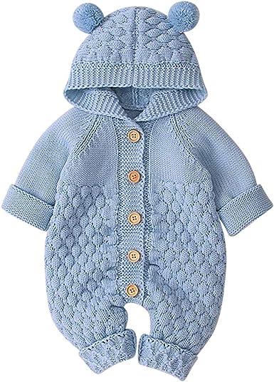Baby Girl Romper Unisex Newborn Baby Cartoon Bear Snowsuit Hooded Knitting One Piece Jumpsuit
