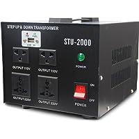 2000W Voltage Regulator with Transformer Heavy Duty - Step Up/Down 110/120&220/240 Volt - 5V USB Port [100% Loading Capacity] [5-Year Warranty]