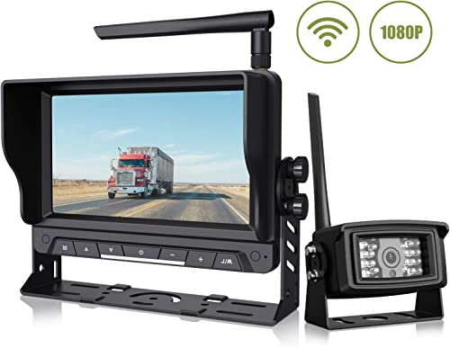 Wireless Backup Camera with 7 Digital Monitor 1080P Rear View Camera Observation System Anti Interference Reverse Camera for Travel Trailers RV Pickup Trucks Motorhome IP69K Waterproof Night Vision