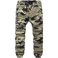 YoungSoul Pantalones para niño - Joggers Cargo con Bajos Ajustados y Estampado de Camuflaje - Pantalón de chándal con…