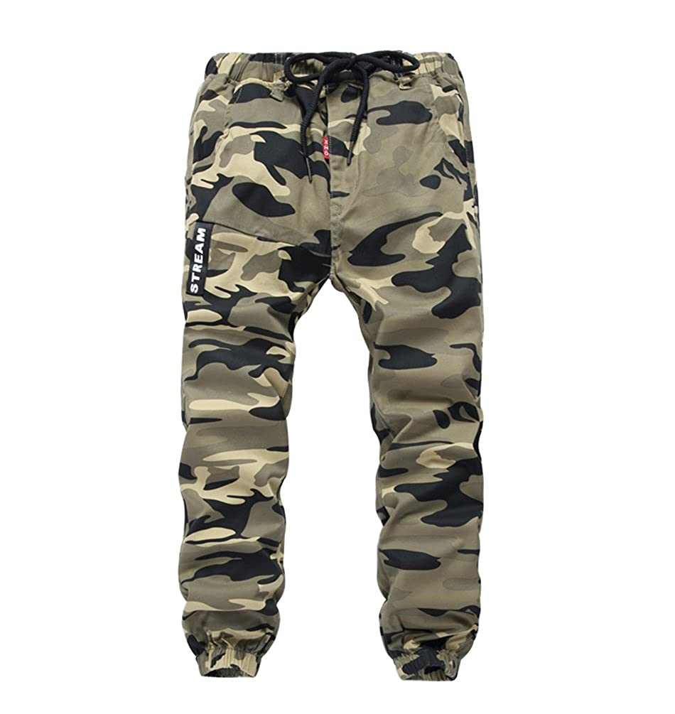 YoungSoul Boys' Cargo Jogger Trousers Drawstring Skinny Camo Print Cuff Jogging Bottoms