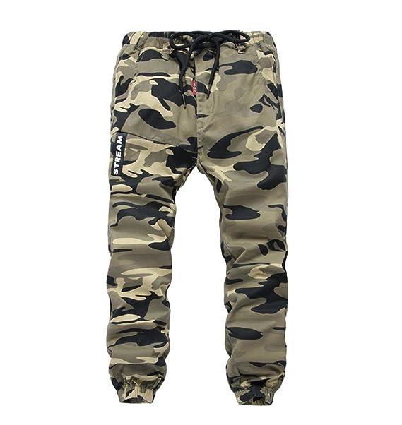 YoungSoul Pantalones para niño - Joggers cargo con bajos ajustados y estampado de camuflaje - Pantalón de chándal con cintura elástica