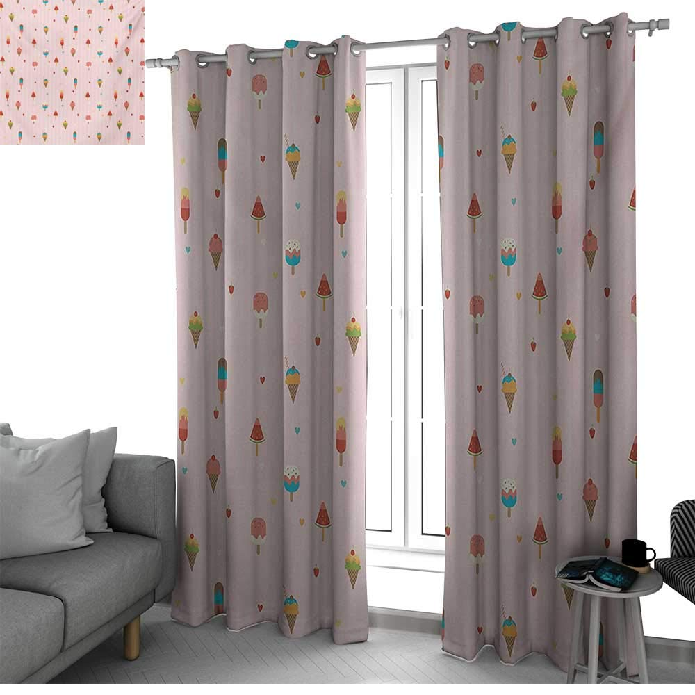 Ice Cream Room Darkening Blackout Grommet Patio Door Curtain Panel Pastel Pink Striped Backdrop with Hearts Different Toppings on Sticks and Cones Blackout Curtain Multicolor W84 x L84 Inch