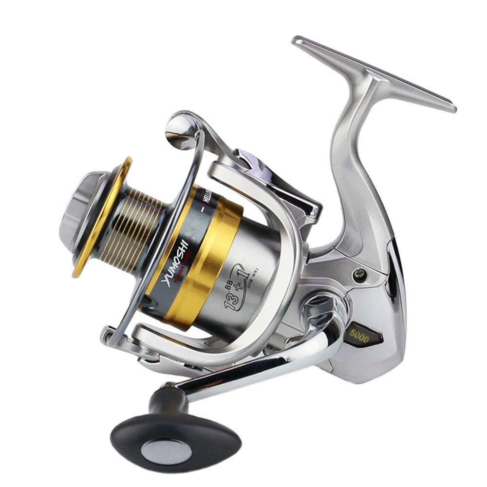2000 Fishing Reels Spinning Saltwater Spinning Fishing Reel Left Right Interchangeable Handle for Saltwater Freshwater Fishing with Double Drag Brake System Fishing Line Winder Spooler (Size   2000)