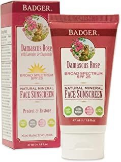product image for Badger - SPF 25 Zinc Face Sunscreen Lotion - Damascus Rose - Broad Spectrum Everyday Face Sunscreen, Natural Mineral Face Sunscreen with Organic Ingredients 1.6 fl oz