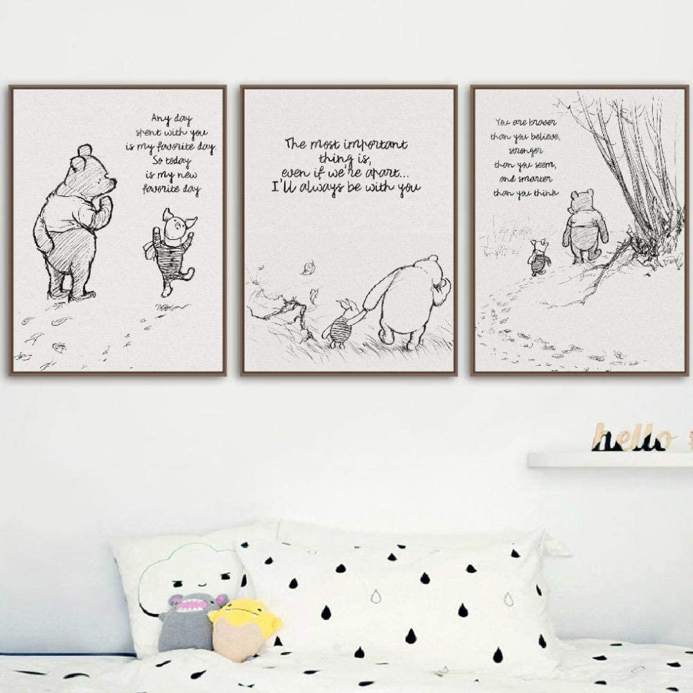 くまのプーさんのキャンバスのポスターと版画クラシック漫画映画アート絵画黒白絵キッズルームの装飾-40×60センチ×3 /なしフレーム