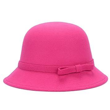 21170c88c3205 Dosige Mujer Sombrero Hongo Gorra Bombín con Visera Curvada Bowler Hat  Sombrero Boina para Cálido Gorro Tapones Hat Cap Chicas (Rosa Roja)   Amazon.es  Hogar