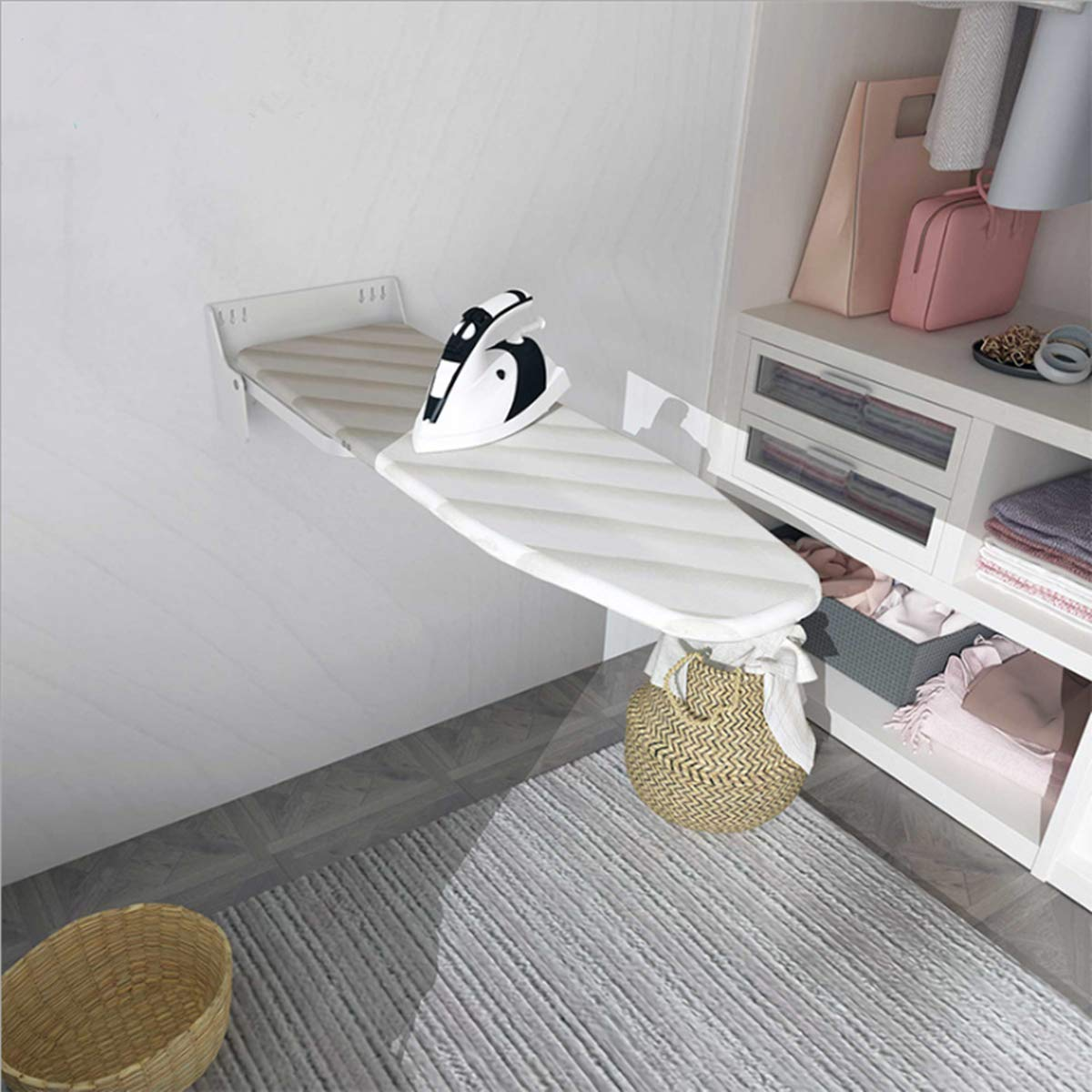 Foldable /& Retractable Closet Ironing Board uyoyous Pull-Out Ironing Board with Cover