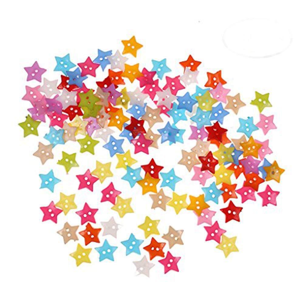 Osun 200pz 2hole Stars plastica pulsante luminoso random Candy color DIY Arts Crafts Supplies