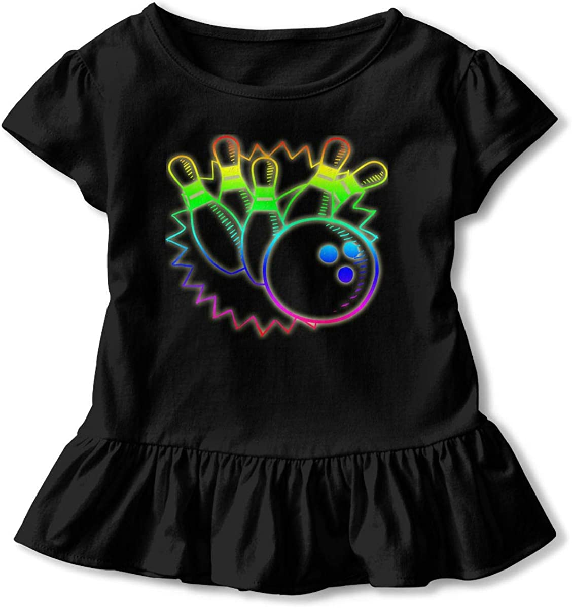 Cheng Jian Bo 80s Retro Neon Sign Strike Bowling Toddler Girls T Shirt Kids Cotton Short Sleeve Ruffle Tee