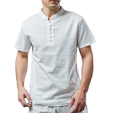 367b32995d1 Moichien Men s Short Sleeve 100% Linen Cotton Grandad Collar Button Down  Shirt at Amazon Men s Clothing store