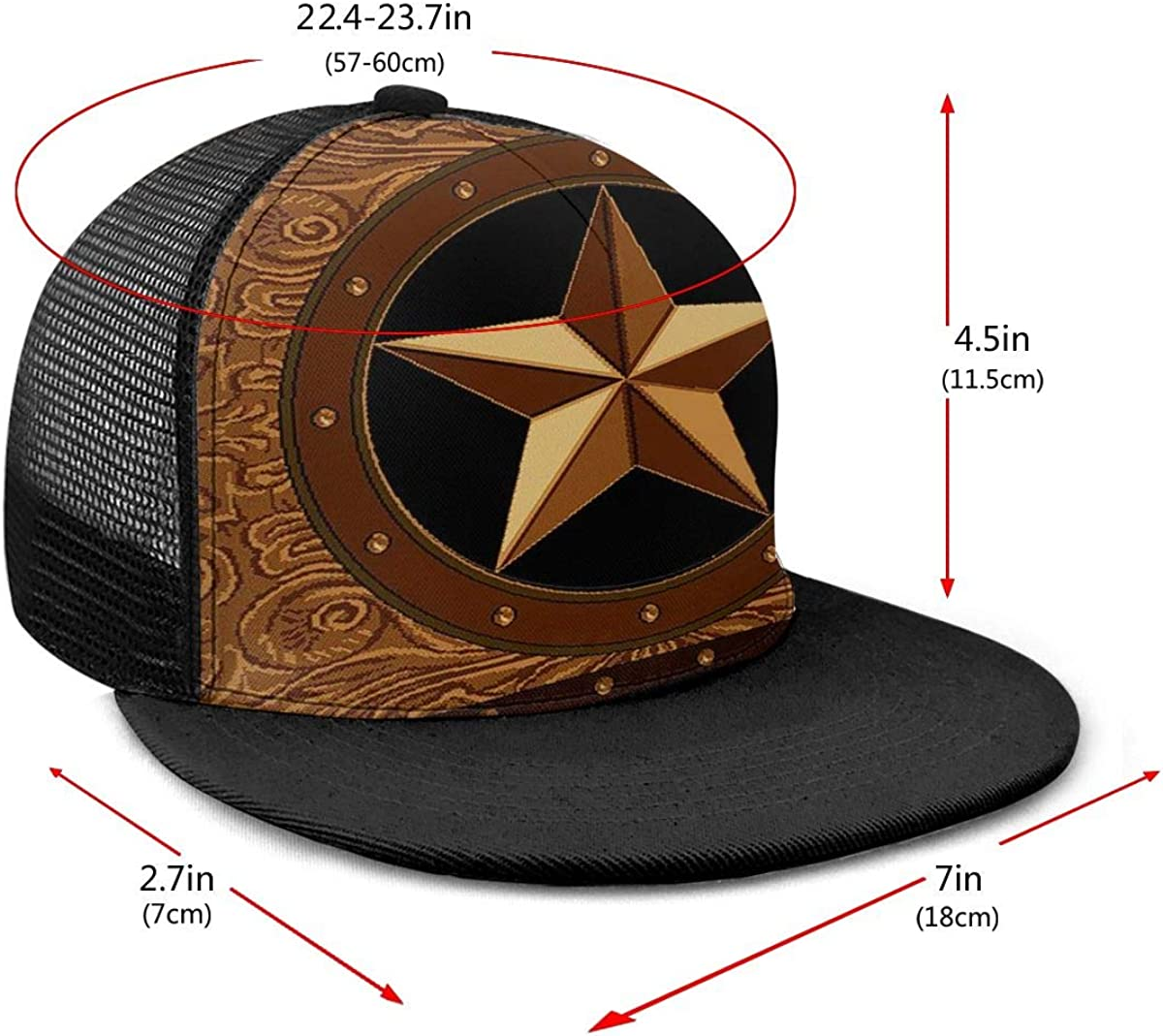 Mens and Womens 100/% Polyester Western TES Star 2 Mesh Cap Adjustable Trucker Mesh Cap for Unisex