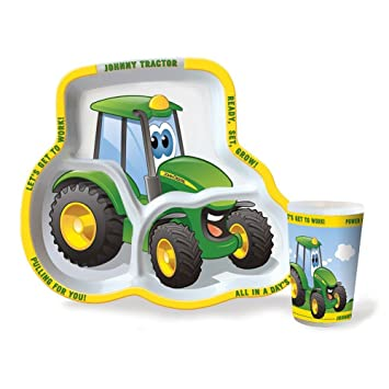 Amazon.com | John Deere Childrens Johnny Tractor Plate & Cup Set (1 ...