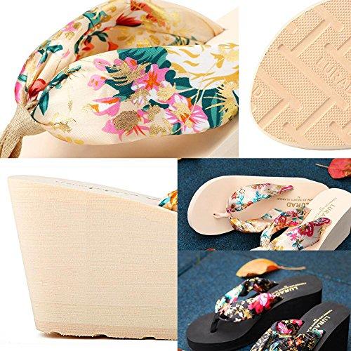 Zapatos De Plataforma Chicas Playa De Color Crema Flip Flops