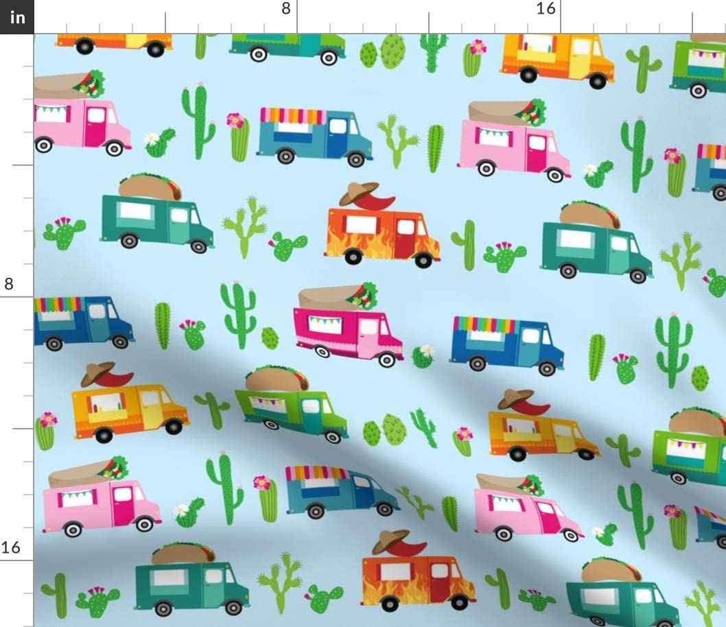 Spoonflower Fabric - Food Trucks Taco Burritos Truck Cactus Blue Printed on Organic Cotton Knit Fabric by The Yard - Baby Blankets Clothing Apparel T-Shirts