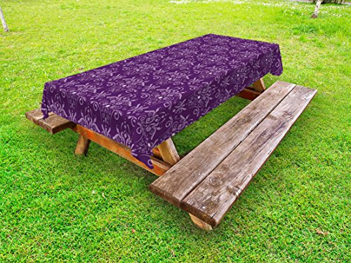 Eggplant Outdoor Tablecloth by Ambesonne, Damask Pattern with Symmetrical Abstract Leaves and Swirls Forming Unified Look, Decorative Washable Picnic Table Cloth, 58 X 84 Inches, Purple Lilac (Damask Eggplant Tablecloth)