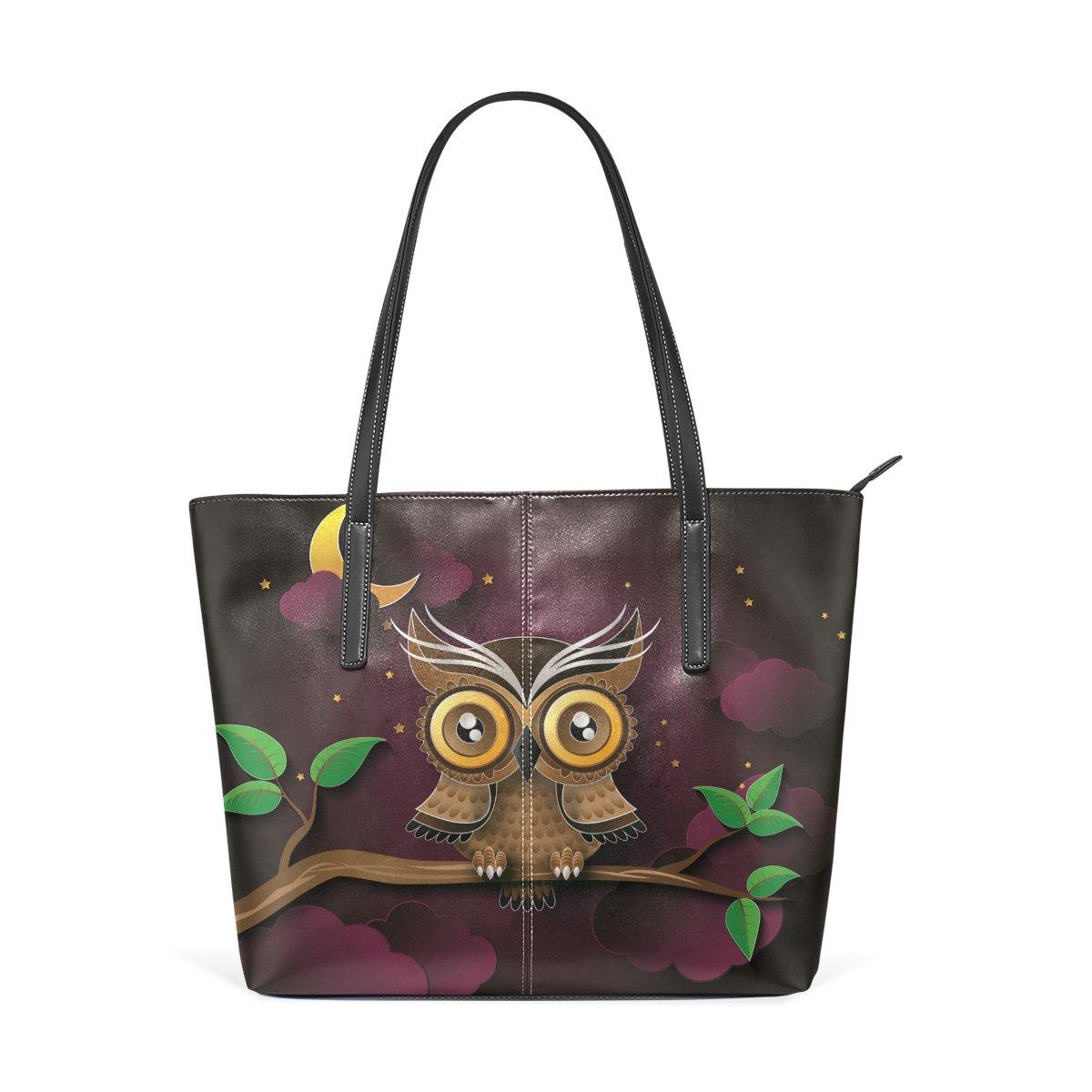 Women Leather Handbags Moon Owl Top Handle Shoulder Bags
