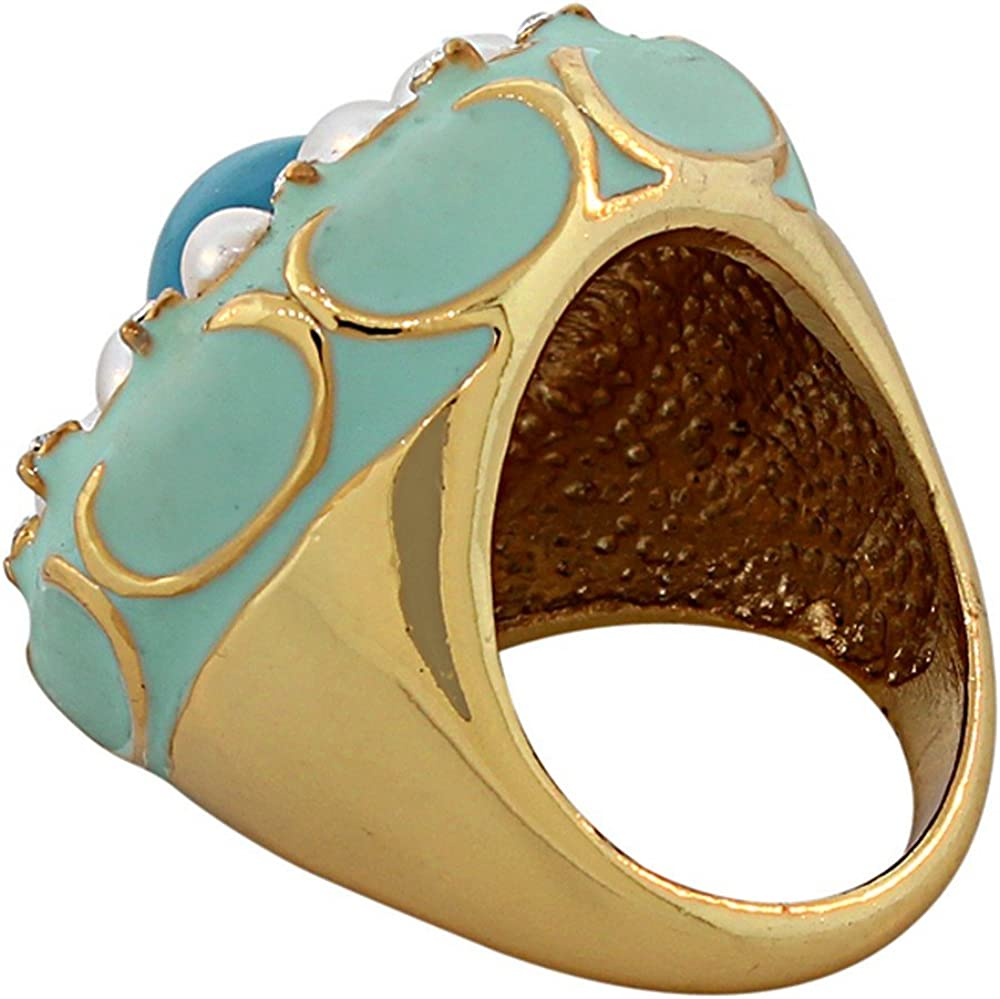 My Daily Styles Fashion Alloy Yellow Gold-Tone Pink Simulated Pearl Orange Enamel Statement Cocktail Ring