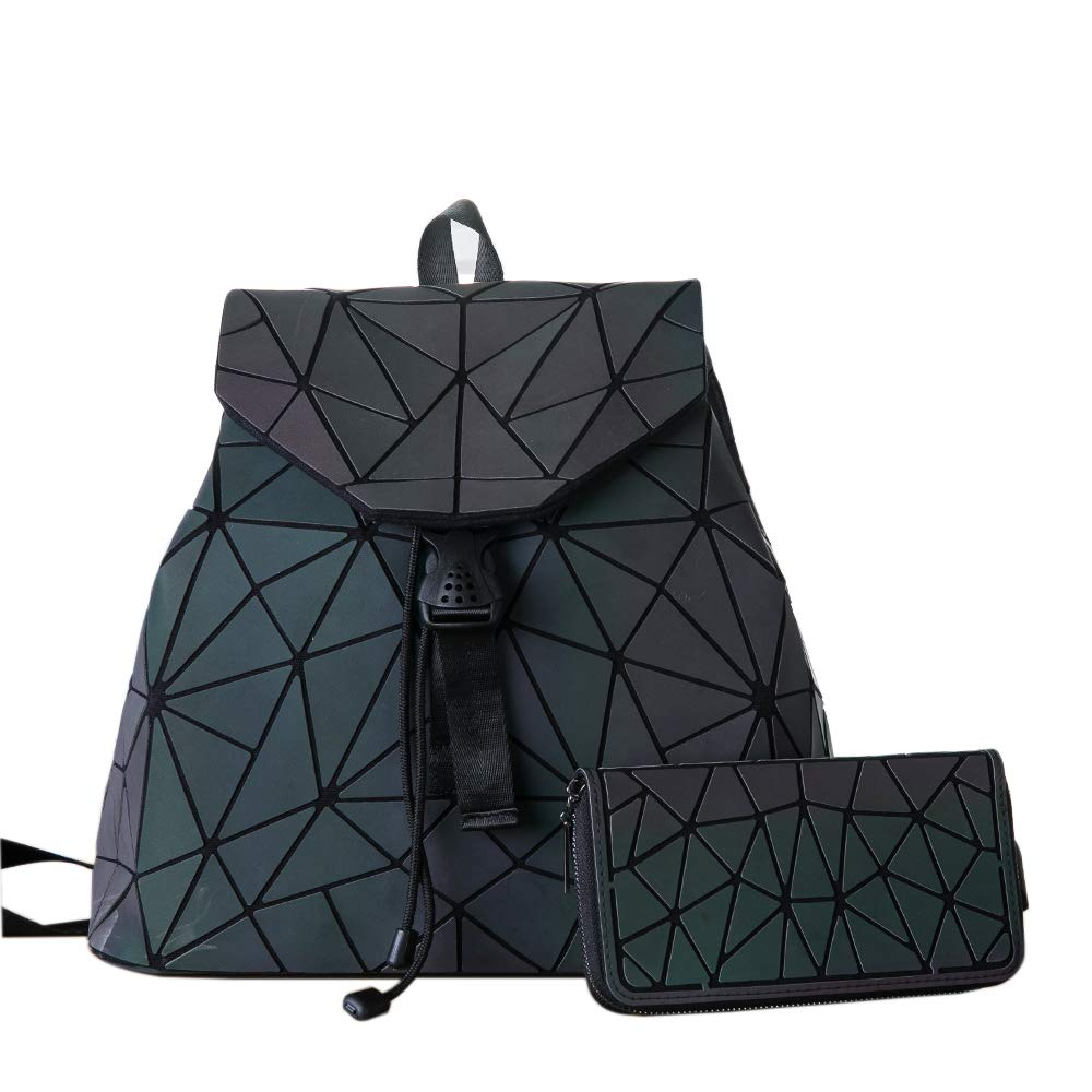 HotOne Shard Lattice Design Geometric Backpack Holographic Reflective Backpacks PU Leather Fashion Backpack (NO.2 + Zipper Wallet)