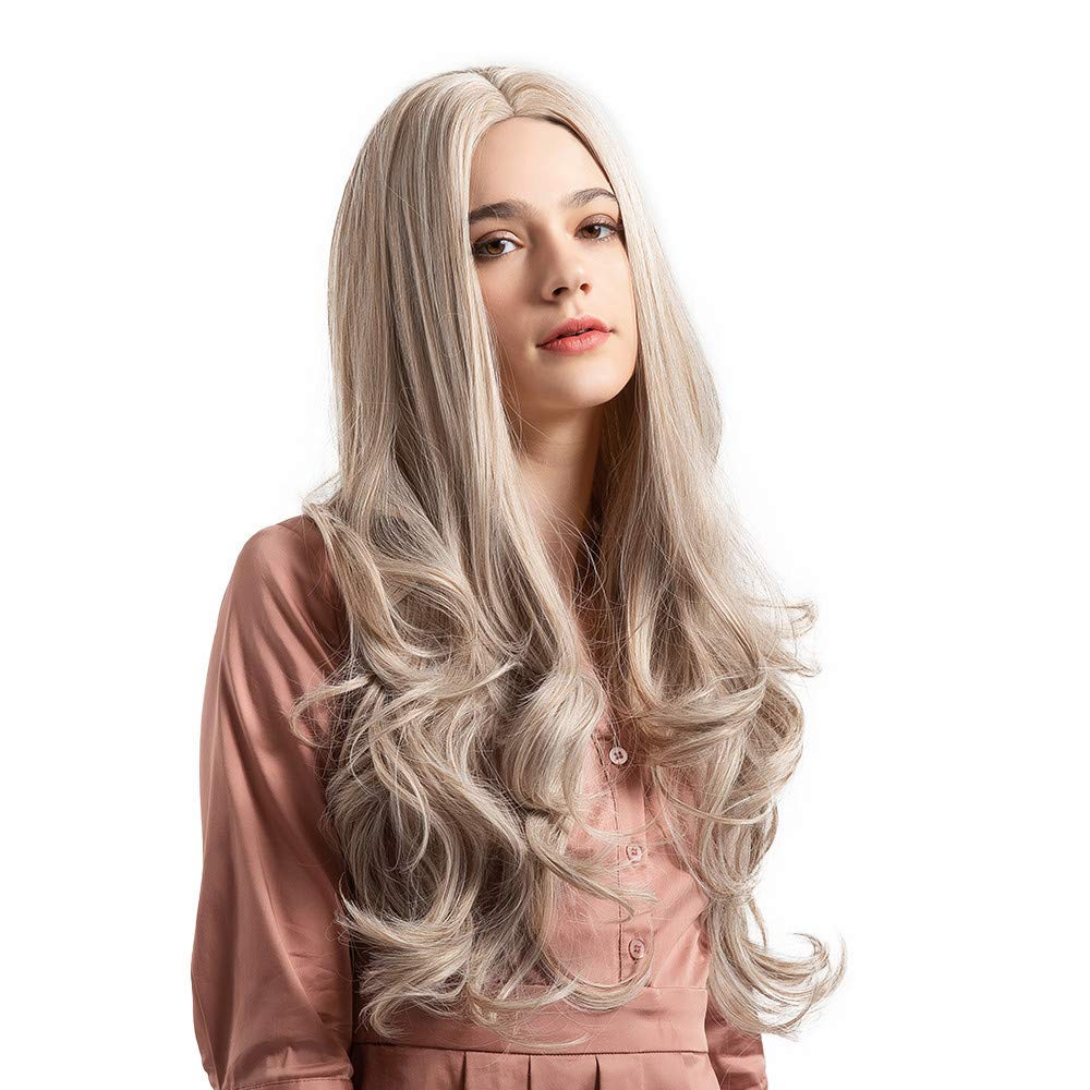 Amaping Glueless Gradient Long Curly Women Wig Synthetic Middle Wavy Hair Costume Cosplay Party Styling Salon Heat Resistant Fiber Lace Wigs (Khaki)
