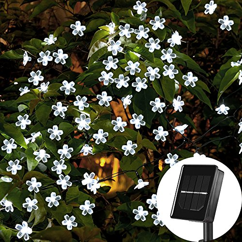 SKYFIRE Solar Flower String Lights,22ft 50 Led Cherry Blossoms String Lights Outdoor Waterproof Solar Powered Fairy Lights for Outdoor,Garden, Patio (White) -