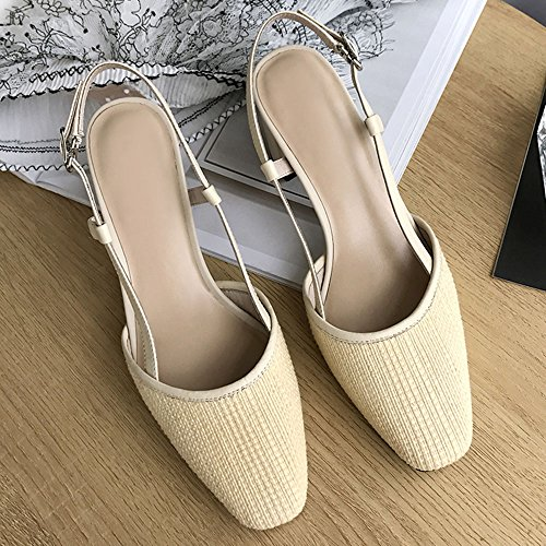 Slipper CAICOLOR Mujer Verano Grueso con Tacón Alto Cabeza Cuadrada Zapatos Poco Profundos literario (Color : Negro, Tamaño : EU38/UK5.5/CN38) Beige