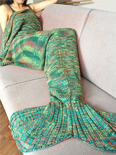 iEFiEL Handcrafted Mermaid Tail Living Room Blanket Crochet Sleeping Bags for Kids and Adult Mixed Green Adult Size One Size